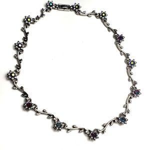 Vintage Flower Gem Leaf Silver Choker Necklace